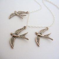 Divergent Inspired three flying bird tattoo necklace in Sterling silver