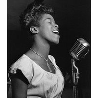 Sarah Vaughan at Microphone Art Print