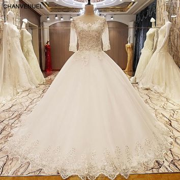 LS89054 elegant lace wedding dress ball gown crystal wedding gowns with long tail robe de mariage 2017 real photos