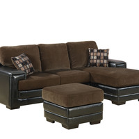 Chocolate/Dark Brown Leather Look Ottoman
