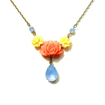 Orange Yellow and Blue Flower Necklace, Floral Bridesmaids Necklace, Midcentury Colors, Vintage style Milky Opal Rhinestones, Estate Style