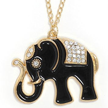 Black Enamel Elephant Necklace Gold Tone NS26 Crystal Indian African Pendant Fashion Jewelry