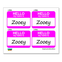 Zooey Hello My Name Is - Sheet of 4 Stickers