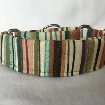 "Interlude Pencil Stripe Coral/Rose Martingale or Quick Release 5/8"" Quick Release 3/4"" 1"" Martingale 1.5"" Martingale 2"""