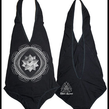 Women's Tetrahedron Bodysuit Sacred Geometry One Piece Body Suit Black