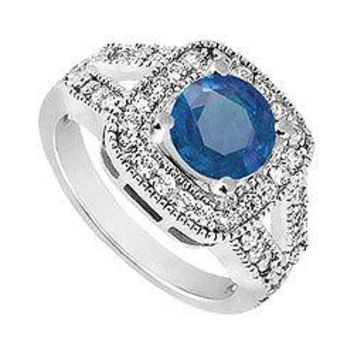 10K White Gold Diffuse Blue Sapphire and Cubic Zirconia Engagement Ring 1.50 CT TGW