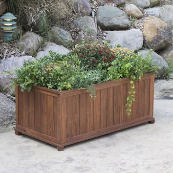 Outdoor Raised Patio Planter Box in Dark Brown Wood - 41-inch