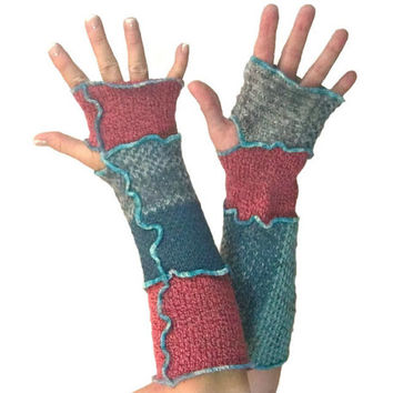 Long Arm Warmers, Upcycled Clothing, Fingerless Gloves, Teal & Maroon, Upcycled Arm Warmers, OOAK Arm Warmers,  Blue and Pink, Gift for Her