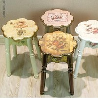 Real wood household bench stool. Simple wooden table stool. Chair