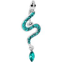 Top Mount Aqua Paved Gem Slithering Snake Belly Ring | Body Candy Body Jewelry