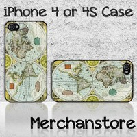 Vintage World Map 1626  the longoodbye Custom iPhone 4 or 4S Case Cove
