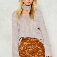 In the Thick of Knit Choker Sweater