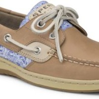 Sperry Top-Sider Bluefish Sequin 2-Eye Boat Shoe Linen/BlueFloralSequin, Size 12M  Women's Shoes