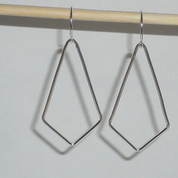 Silver geometric earrings sterling silver teardrop earrings open triangle earrings simple earrings minimalist earrings minimalist jewelry