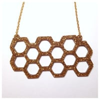 Gold Glitter Honeycomb Statement Necklace - Laser Cut Acrylic Necklace - Geometric Accessory