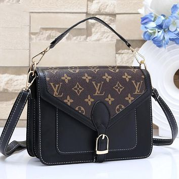 LV Louis Vuitton Classic Popular Women Leather Shoulder Bag Crossbody Satchel Black