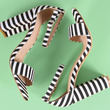 Striped Print Canvas Ankle Strap Chunky Heel