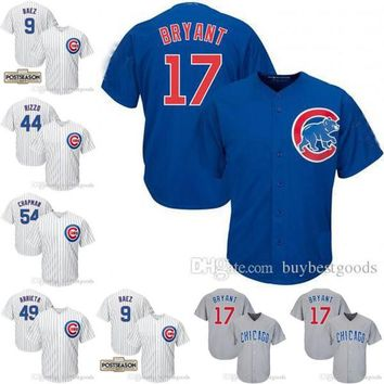 Chicago Cubs Jerseys #17 Bryant #44 Rizzo #9 Javier Baez #34 Lester #27 Russell #54 Chapman #49 Arrieta 2016 World Series Patch Jersey
