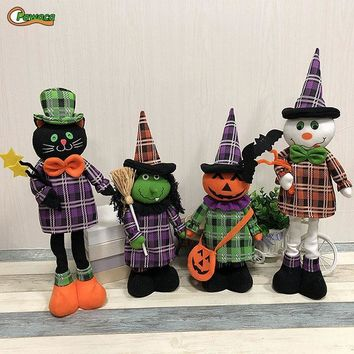 Halloween Stretchable Pumpkin Wizard Black Cat Ghost Telescopic Doll Decoration Halloween Ornament For Home Table Decor Craft