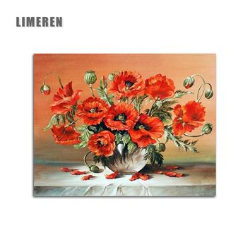 Red Flowers In Vase Digital Painting By Numbers Dipinto On Canvas Coloring By Numbers For Modern Wall Art Picture