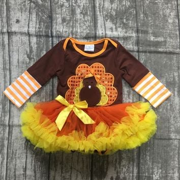 fall/winter thanksgiving day baby girls cotton dress turkey brown stripe tutu romper toddler romper children clothes boutique