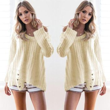 ESBONG Pullover Hot Sale Long Sleeve Ripped Holes Sweater [11598572564]