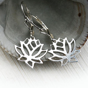 Silver Lotus Earrings, Lotus flower, Simple Silver Earrings, Lotus Jewelry, Minimalist Jewelry, Simple Wearable, Sterling silver Lotus