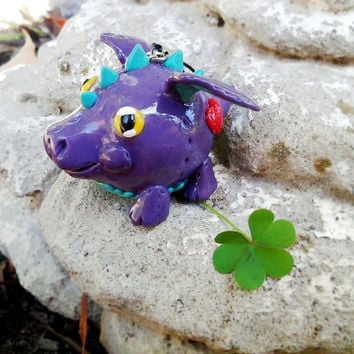 Spike the Purple Dragon Bubbimal -- Handmade Polymer Clay, Cute Fantasy Ornament / Decor / Gift, Kawaii Chubby Creature Collectible
