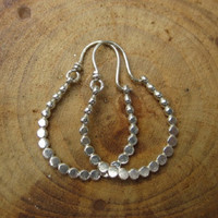 Beaded Handmade Sterling Silver Earrings Hoops Hammered Flat
