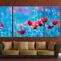 3 panels Framed canvas print, ready to hang on wall, poppy flower
