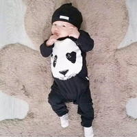 New 2016 autumn spring baby boy girl rompers fashion cotton black long sleeve panda pattern  newborn neutral baby clothes