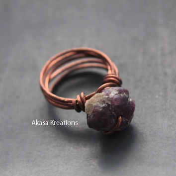Raw Ruby Crystal Healing Copper Wire Wrap Ring Size 5 Energy Flame Shine Sun Perseverance Resolution Vitality Energy