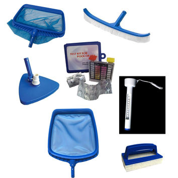 7-Piece Deluxe Swimming Pool Kit - Vacuum, Leaf Rake, Brush, Thermometer, Test Kit, Scrubbing Pad and Skimmer