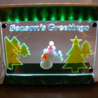 Season's Greetings Light LED lit  decoration ornamental light art panel  with stand