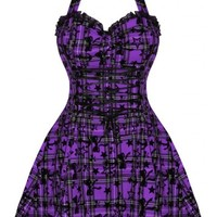 Purple & Black Tartan Bow Flocked Mini | DRESS