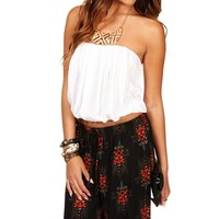 Ivory Pleated Bubble Tube Top