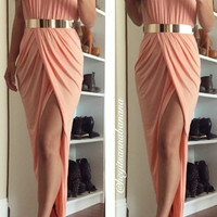 Summer High-Slit Maxi Dress - Blush