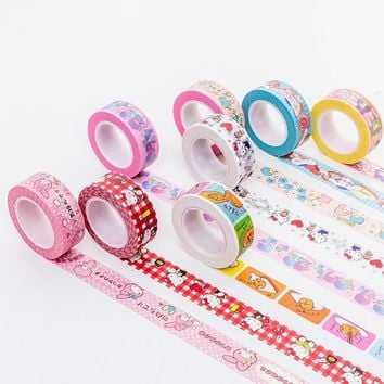 Hello Kitty Twin Star Foil Kawaii Washi Tape Scrapbooking Masking tape Stickers scrapbooking Washitape Washy tape sumikko 02547
