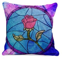 Rose Beauty and the Beast Stained Glass Pillow Case (16 x 16 one side)