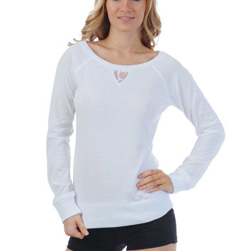 Boat Neck Long Sleeve T Shirt with Laced Back