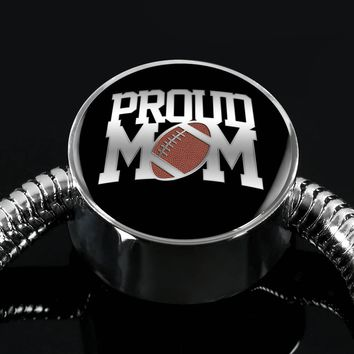 Proud Football Mom - Luxury Charm Bracelet