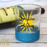 Sunshine & Whiskey // Glitter Dipped Whiskey Glass