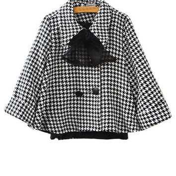 Houndstooth Bow Collar Cape Coat