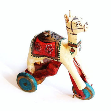 Vintage Toy Camel With Wood Wheels Antique Carved Animal Figurine