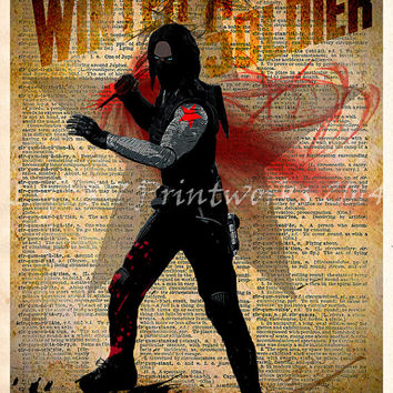 Winter Soldier - Avengers art -  Vintage Silhouette print  - Retro Super Hero Art - Dictionary print art