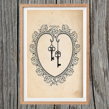 Vintage Love Heart Poster Keys Print Antique Decor Wall Art
