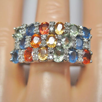 Sapphire Diamond Mens Ring Sz 13 Sterling Silver Vintage Multi Colored - orange, green, blue, yellow
