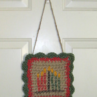 Kwanzaa Wall Art - Kwanza Wall Hanging - Holiday Wall Decor - Primitive Kwanzaa Art - Mishumaa Saba - Kinara - Handmade Jute