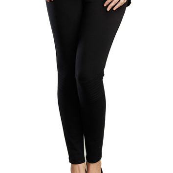 Quilted Moto Maternity Leggings