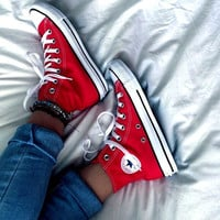 """""""Converse"""" Fashion High tops Red Canvas Flats Sneakers Sport Shoes"""
